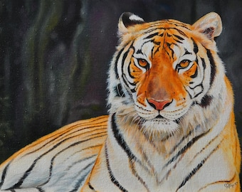 Tiger Paul tiger oil painting on canvas ready to hang / hipper-realism / animal