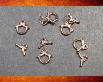Clasp, Toggle - 5 sets of Tiny Bright Copper Toggle Clasps.  #FIND-039
