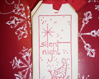 Christmas Gift Tags - Snowman Silent Night - Wish Tree Tags - Set of Six