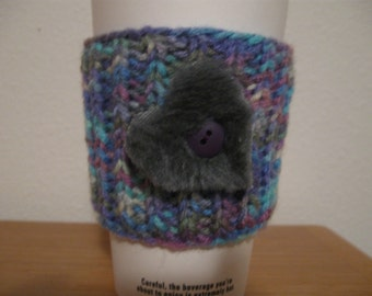 Heart Embellished Knitted To Go Cup Cozy Sleeve