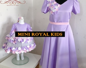MOMY & I COLLECTION : Mother and daughter handmade purple satin Dress with flower