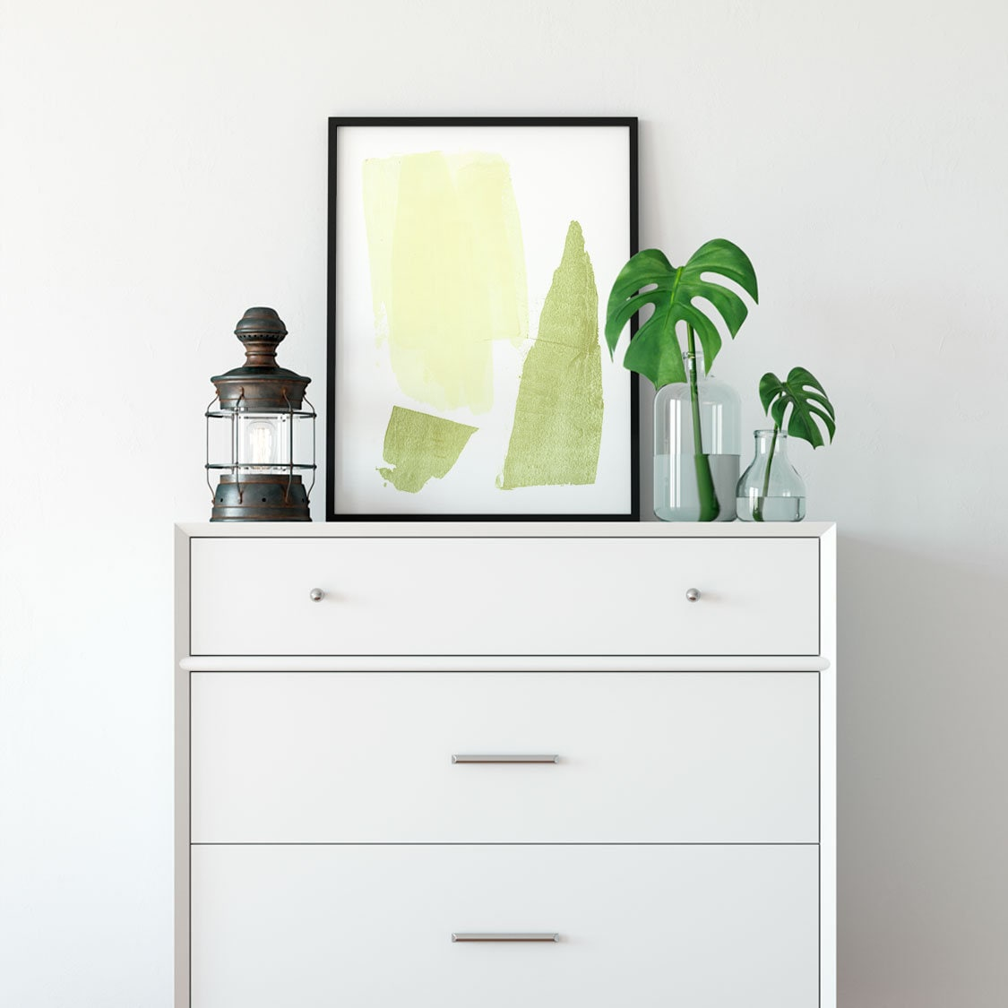 Yellow And Olive Strokes Art Print
