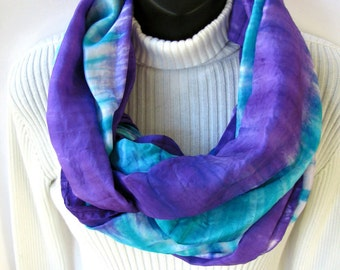 Hand Dyed Silk Infinity Scarf - Ultra Violet Purple Scarf hand Dyed Winter Scarf  Fashion Circle Scarf Gift for Women scarves gift for her