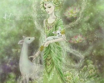 Free US Shipping - Kwan Yin with White Deer and Green Peony Fantasy Art - Lady of Compassion - 5x7 Signed Print - by Mitzi Sato-Wiuff