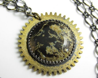 Stormy Sun Necklace - Jasper Planet on a Vintage Brass Gear