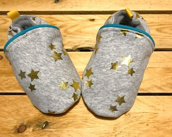 Baby soft slippers, jersey and faux leather for the sole, size 28/32