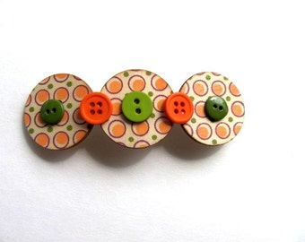 Dotted Button Barrette Free US Shipping