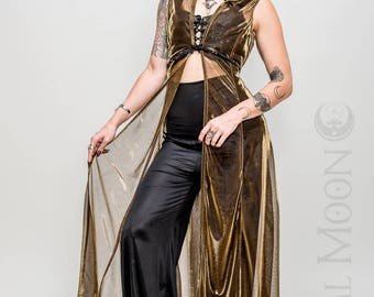 "Limited Edition: The ""Sorceress Duster"" Long Vest with Amulet on Hood in Yellow Gold Sheer Mesh by Opal Moon Designs (Sizes S-XL)"