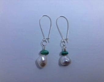 Silver Turquoise & Pearl Earrings