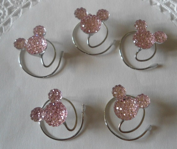 MOUSE EARS Hair Swirls for Disney Wedding in Dazzling Pale Baby Pink Acrylic