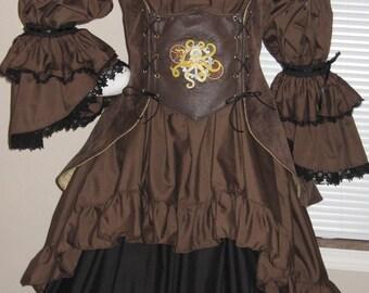DDNJ Choose Fabric Reversible Side Lace UnderBust Corset Style Bodice Long Peplum Plus Custom Made ANY Size Renaissance Pirate Steampunk