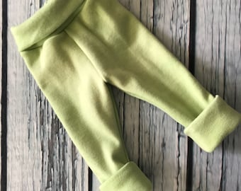 Wool Interlock Longies - Medium - Green - Cuffed