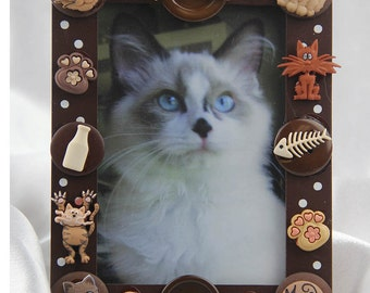 Cat,Kitten,Feline,Pet Lover Button Picture Frame, All Occasion, Birthday Gift