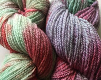 Hand Spun Hand Painted  Maine yarn Two beight skeins!