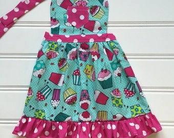 Cupcake Apron for Kids, Toddler Apron, Kid Apron, Child Apron, Little Girl Apron, Kids Cooking Apron, Kitchen Apron, Aqua Apron, Pink Apron