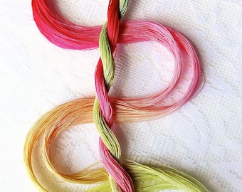 "Size 80 ""Rhubarb Pie"" hand dyed thread 6 cord cordonnet tatting crochet cotton"