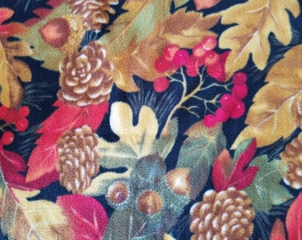 Autumn Leaves and Pine Cones Fleece Fabric (1/2 yard)