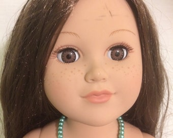 """Turquoise color bead necklace  fits 18"""" doll"""