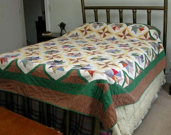"Vintage Hand Sewn Hand Pieced Pinwheel Quilt 85""x92"""