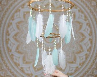 Mint and White Feather Mobile Chandelier - Bohemian Nursery Mobile Nursery Hanging Decoration Baby Shower Gift Handmade Dreamcatcher Mobile