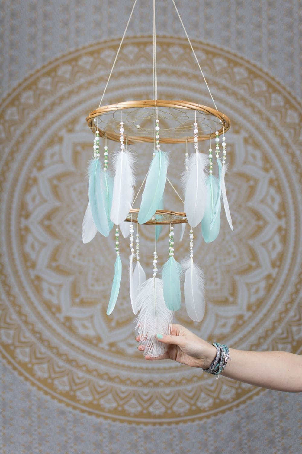 Mint and white feather mobile chandelier bohemian nursery zoom arubaitofo Image collections