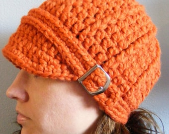 Womens Hat Orange Womens Hat Pumpkin Womens Hat Orange Pumpkin Fall Hat Autumn Hat Fall Accessory Autumn Accessory Crochet Hat Knit Beanie
