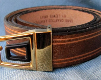 "1"" Wide Leather Belt Hand Cut and Tooled Custom Fit Free Key Fob"