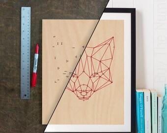 DIY Geometric Fox Dot 2 Dot Artwork, Geometric Artwork, Geometric Animal, Laser Etched, Connect the Dots