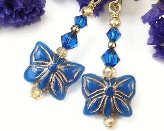 Blue Butterfly Earrings, Sparkly Blue Crystal Earrings, Czech Glass Boho Earring, Gold Filled Beads, Symbolic Jewelry, One of a Kind Jewelry