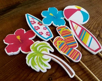 Beach Party - Set of 24 Double Sided Assorted Beach Party Cupcake Toppers by The Birthday House