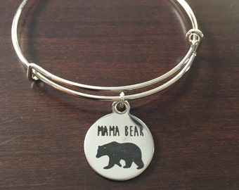personalized bracelet, mama bear, mama bear bracelet, mama bear jewelry, mom bracelet, mom, bracelet, bracelets, bangle, charm bracelet