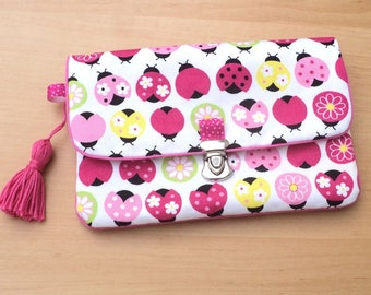 "Clutch purse with flap ""colorful ladybugs"""