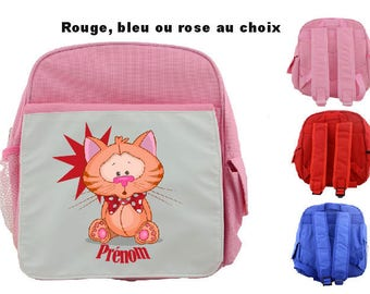 "BACKPACK CHILD ""KITTEN"" PERSONALIZED WITH CHILD'S NAME"