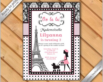 French poodle invite etsy 50 off sale paris french poodle printable party invitation paris birthday card stopboris Image collections