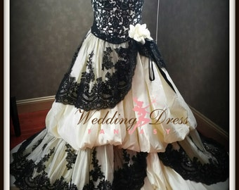 Gothic Wedding Dress Pale Yellow and Black French Lace Custom Handmade by Award Winning Bridal Dressmaker in New Jersey
