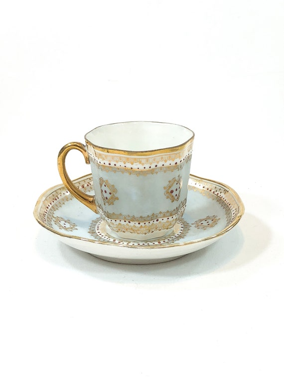 Antique Jeweled Demitasse Cup Saucer, Red Beads Gilded Handle Borders, Robins Egg Blue, Eggshell China Cabinet Cup, 1800s Unmarked Porcelain