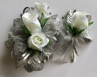 Silver and White Rose Corsage and Boutonniere Set (artificial)