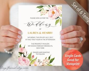 Peony wedding invitation template printable pink floral 4 double sided peony wedding invitation templates single cards fit vistaprint printable floral wedding stopboris Gallery