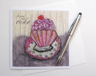 Afternoon Tea Greeting Card, Time For Cake Birthday Card, Square Birthday Card, Cake Celebration Card, Cake Art Card, Blank Greeting Card