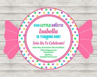 Candy Birthday Invitation, Candyland Birthday Invitation, Candy Invitation - Digital File