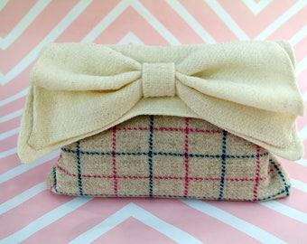 Katharine - Cream windowpane check Harris Tweed Clutch Bag - evening purse - bow - formal - handmade