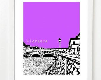 Florence Italy  - Ponte Vecchio - Florence City Skyline Art Print - Florence Poster - VERSION 1
