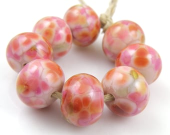 Strawberries and Cream SRA Lampwork Handmade Artisan Glass Donut/Round Beads READY to SHIP Set of 8 8x12mm