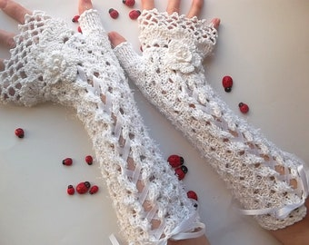 Crocheted Cotton Gloves L Ready To Ship Victorian Fingerless Summer Women Wedding Lace Evening Knitted Bridal Party White Corset Opera B53