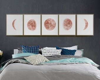 Moon Phases Prints, Set of 5 Watercolor Copper Lunar Phases Moon art Print, Bed Room Wall Art