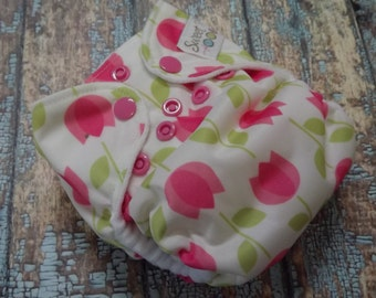 Newborn AI2 Cloth Diaper Organic Cotton Pink Tulips Made to Order All in Two PUL