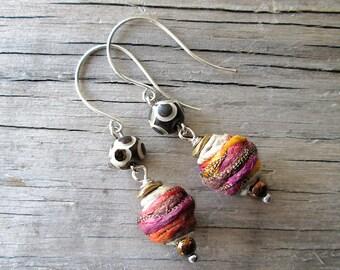 Colorful Tribal Earrings, Bohemian Fiber Earrings, Ethnic Earrings, African Dangles, Indie Jewelry, Hemp Earrings, Vegan Jewelry
