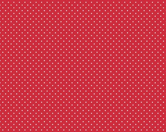 Riley Blake Designs, White Swiss Dot on Red  (C670 80)