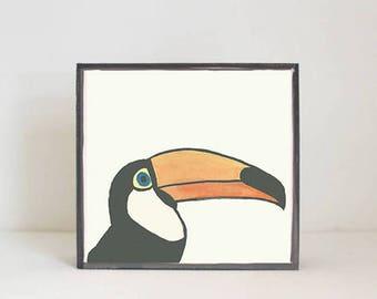 toucan bird tropical nursery prints- tropical decor- bird print- boho nursery- jungle nursery art block nursery decor redtilestudio