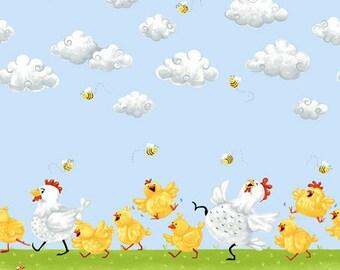 "Chicken Fabric, Hen Fabric: Susybee ""Pippa the Hen"" - Pippa & Chicks border Blue Sky 100% cotton fabric by the yard 36""x42"" (SB7)"